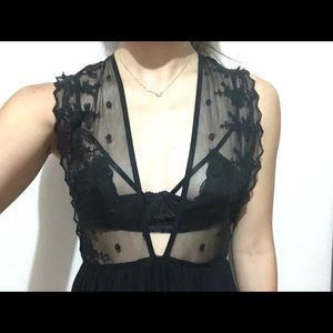 Forever 21 Tie-Back Mesh Sheer Maxi Lace Dress